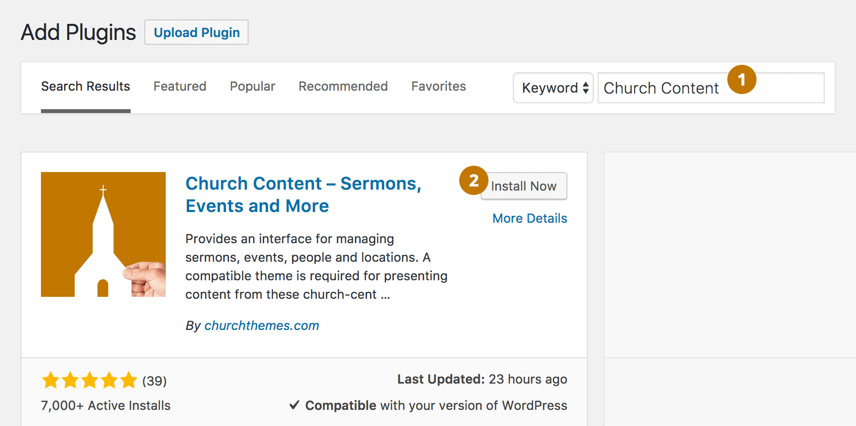 Install Church Content WordPress Plugin