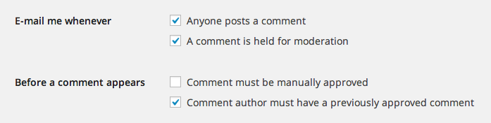 Comment Spam Settings