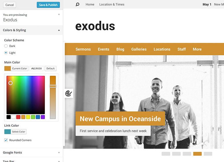Exodus Customizer Colors