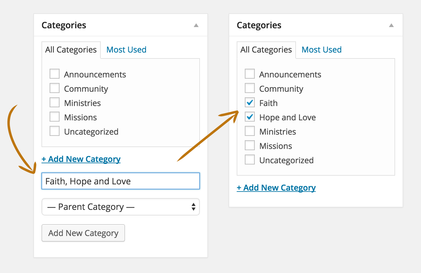 how to add a category with a comma in wordpress