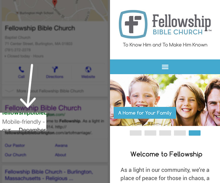 Mobile-friendly Google Results for Church Website