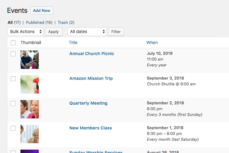 Publish church events with WordPress