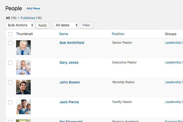 Manage church staff in WordPress