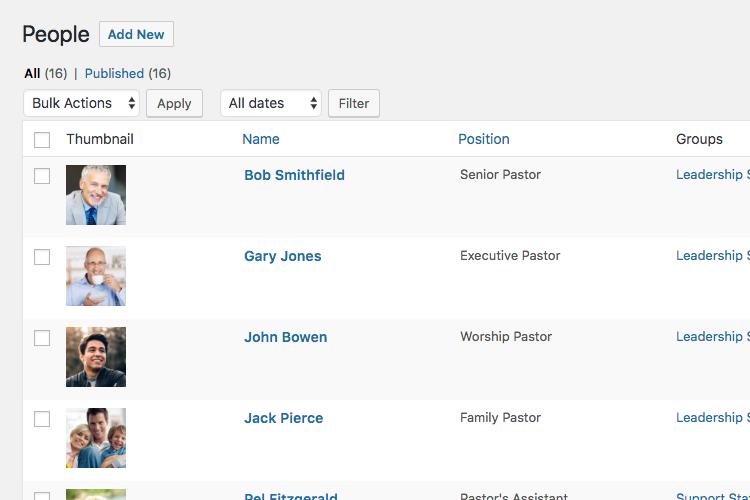 Manage church staff in WordPress