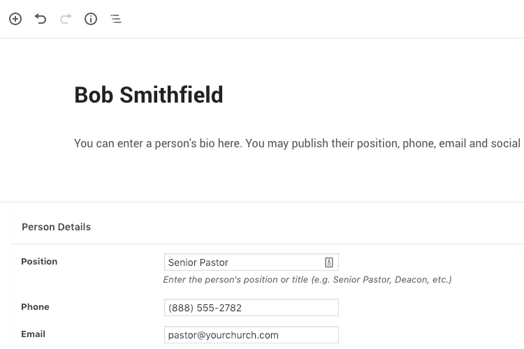 Publish church staff bio with WordPress