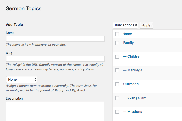 Manage sermon topics in WordPress