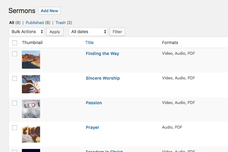 Manage sermons in WordPress