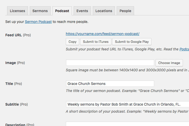Sermon podcast setting for Church Content WordPress plugin