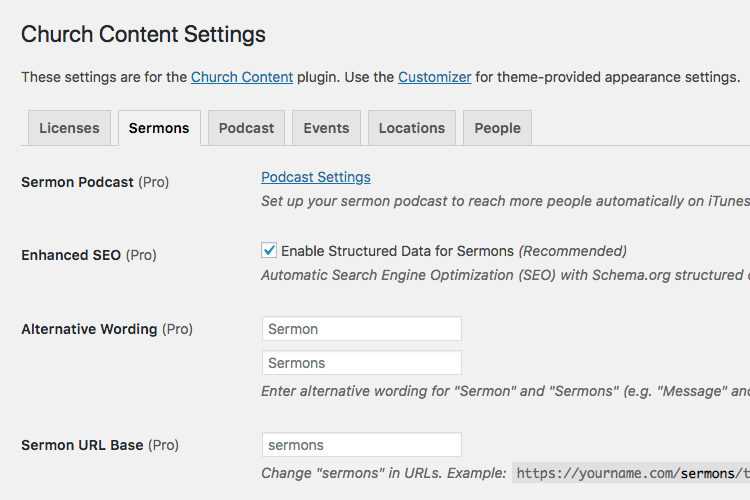 Church Content plugin sermons settings