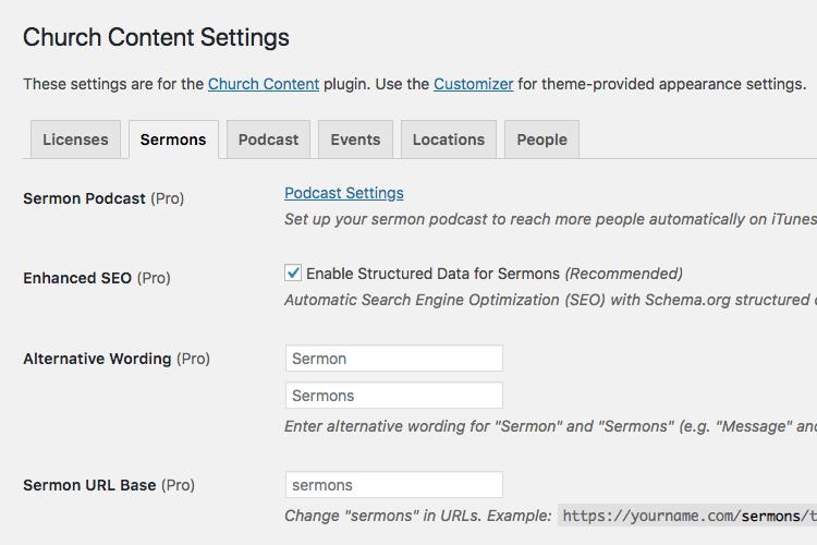 Church Content plugin sermons settings