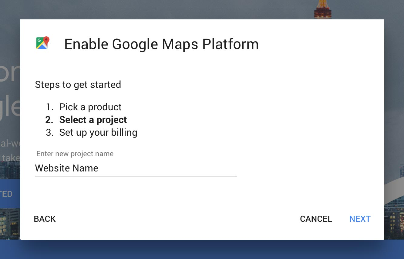 Google Maps New Project