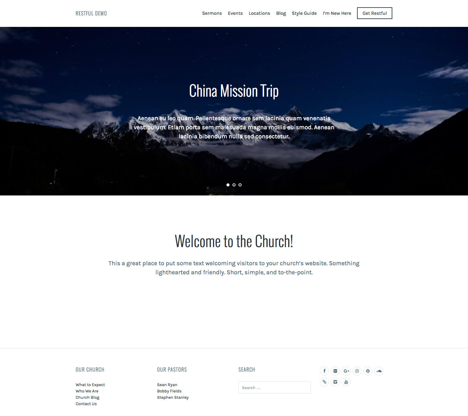 Restful Church WordPress Theme