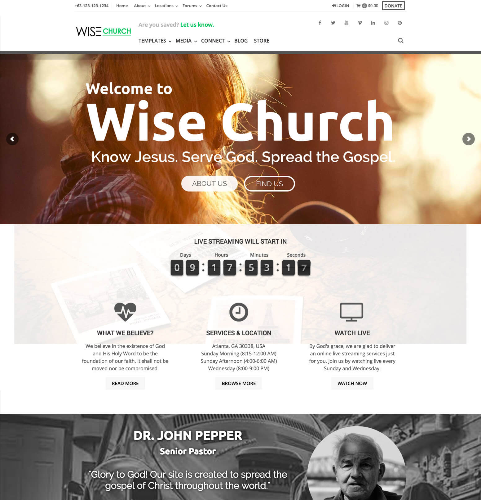 Wise Church WordPress Theme
