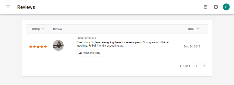 Google My Business Church Review